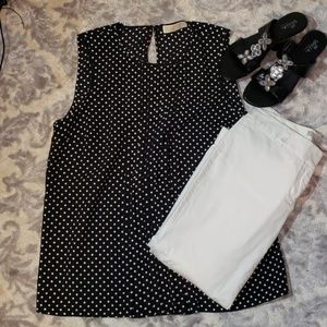 Michael Kors Pleated Black White Polka Dot Blouse